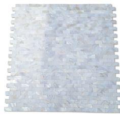 Shop 12 x 12 Serene White Bricks Groutless Polished Pearl Shell Glass Tile in White at TileBar.com.