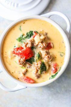 Keto Tuscan Soup Creamy Keto Tuscan Soup Recipe on Yummly. Keto Tuscan Soup Recipe on Yummly. Low Carb Keto, Low Carb Recipes, Diet Recipes, Cooking Recipes, Healthy Recipes, Sausage Recipes, Healthy Food, Recipes Dinner, Sopa Toscana