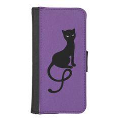 Purple Gracious Evil Black Cat Phone Wallet Case.  $23.95