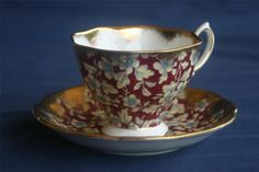 Royal Albert Chintz Cup Saucer Red Brocade Gold England