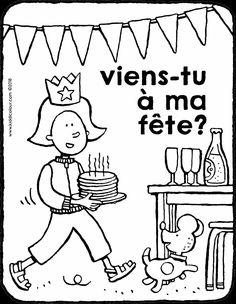 viens-tu à ma fête? - coloriage - dessin - image à colorier Birthday Coloring Pages, Colorful Pictures, Puzzles, Snoopy, Invitations, Comics, Party, Kids, Fictional Characters