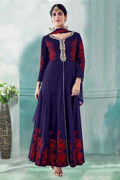 Festival Wear Navy Blue Tafeta Silk Anarkali Suit  - 71175A