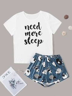 Search for Sleep at ROMWE. Discover the latest women and men's fashion online Cute Pajama Sets, Cute Pjs, Cute Pajamas, Girls Fashion Clothes, Teen Fashion Outfits, Cute Fashion, Cute Outfits For Kids, Cute Casual Outfits, Pyjamas