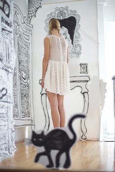 Rachel Antonoff - would love to paint the walls in my studio with black drawings