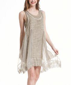 Another great find on #zulily! Khaki Lace-Hem Layered Sleeveless Dress #zulilyfinds