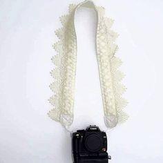 Correa de la cámara réflex digital / cámara de encaje Vintage correa / encaje blanco cremoso / fotografía / accesorios