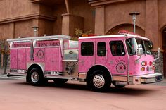 """Transport: Here's a previous Pinner's commentary: """"Firetruck Pink ☆ Girly Cars for Female Drivers! Love Pink Cars ♥ It's the dream car for every girl ALL THINGS PINK!"""" And I'll add that I must show this to my hubby who is a retired firefighter. I don't know whether he'll tut or laugh! ;) Mo"""