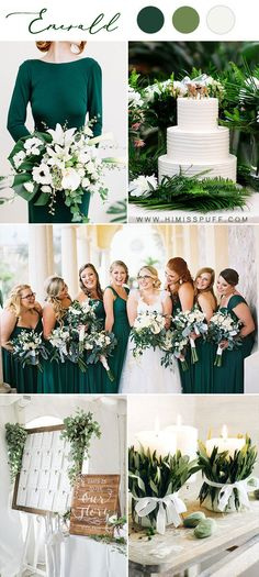Emerald bridesmaid dresses wedding palette green white wedding color