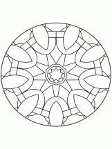 Mandala en forme de vitrail à colorier