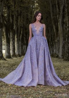 PSAW1709 - Hand-appliqued lavender embroidered tulle ballgown