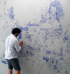 Muralist José Lerma, here using an airbrush on an earlier work, will create a mural at the Kemper Museum of Contemporary Art in August. Art And Illustration, Wow Art, Oeuvre D'art, Art Studios, Artist At Work, Painting & Drawing, Art Drawings, Contemporary Art, Art Photography
