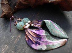 Fallen Leaves Heralding Spring. Wearable art polymer clay. Fall earrings, green earrings, purple earrings, wire wrapping jewelry, mixed media jewelry, long earrings