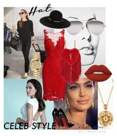 """""""Angelina jolie"""" by ilenia013 ❤ liked on Polyvore featuring Vanity Fair, ML Monique Lhuillier, Christian Louboutin, Yves Saint Laurent, Gucci, Linda Farrow, Eugenia Kim, Lime Crime, GetTheLook and hats"""