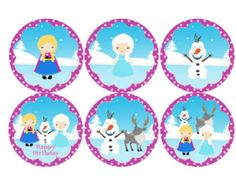 Free Printable Disney Frozen Party | Disney Frozen Inspired Cupcake TopperS, Favor Tags. Instant download