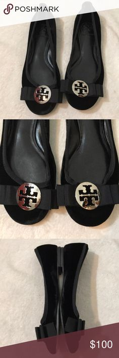 Tory Burch Flat Black Velvet Tory Burch Flat with silver logo. Used but very well taken care of. Very good condition and so comfy Tory Burch Shoes Flats & Loafers