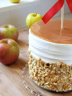 the perfect fall cake!  baked caramel apple cake...my mouth is watering!  four homemade components...applesauce, apple cake, caramel sauce, and caramel buttercream....yum!