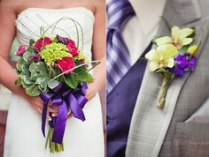 purple and yellow Boutonniere. Nicely paired with purple tie and matching waistcoat.