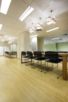 Charter Build installed a bamboo floor in the kitchen of this office fitout