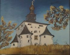 painting of eastern european castle by lubica lintnerova