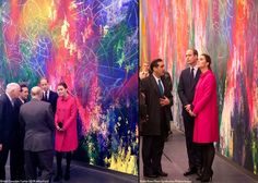 Kate in a pink Mulberry coat for their visit to the National September 11th Memorial and Museum.
