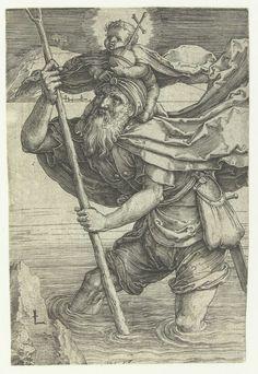 De heilige Christoffel, Lucas van Leyden, 1519 - 1523