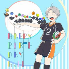 Suga must have spent a lot of time to teach karasuno crows to spell his name #sugawara #haikyuu