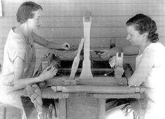 threading a table loom   Hartland, Michigan   undated