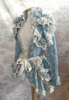 Burlesque Steampunk Bustle Skirt Lolita  Victoriana  Vintage Blue OPHELIA Vintage Lace Victorian Decadence By Ophelias Folly