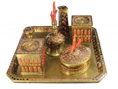17th century bronze and coral Inkwell work of Trapani
