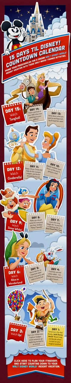 Walt Disney World Countdown Calendar with Tangled, Cinderella, Snow White, Alice in Wonderland and Up! I don't have a preschooler, but this is still a great prep for a Disney vacation Disney Countdown, Countdown Calendar, Vacation Countdown, Countdown Ideas, Disney World 2017, Walt Disney World Vacations, Disneyland Trip, Disney World Tips And Tricks, Disney Tips