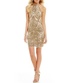 deee312ae13 B. Darlin Sequin Swirl-Pattern Sheath Dress