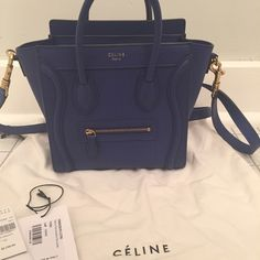 Céline Nano in Indigo Bought a few months ago. Lightly used. reallly good condition!  Comes with Barneys receipt, tags, and dust bag.  Leather is drummed calf. Celine Bags
