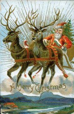 Cartão postal com Papai Noel em trenó puxado a renas, 1909.