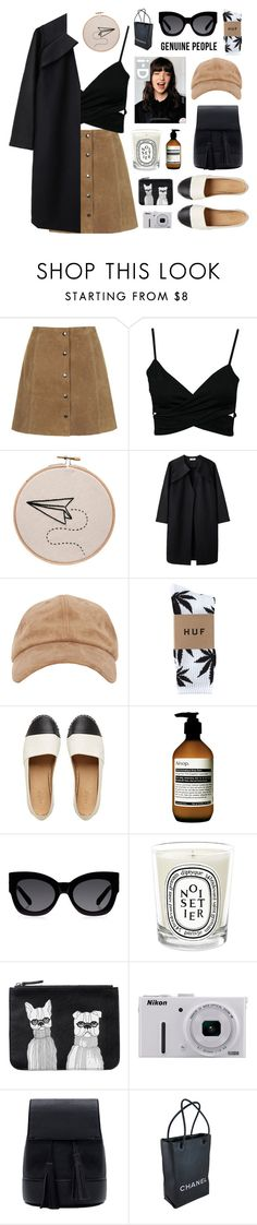 """""""i'd rather dance than talk with you"""" by jesicacecillia ❤ liked on Polyvore featuring A Détacher, HUF, Aesop, Karen Walker, Diptyque, Monki, Nikon, Chanel and Genuine_People"""