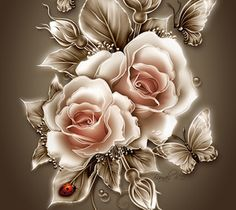 White Roses Tan Background Preview Image