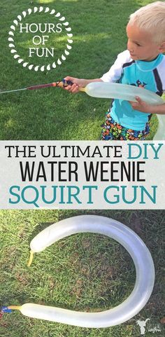 The ultimate water weenie squirt gun! Hours of summer fun in your own back yard! Make this cheap, easy squirt gun your kids will love! Fun Summer Activities, Hands On Activities, Kindness Activities, Toddler Fun, Summer Kids, Outdoor Fun, Fun Projects, Diy For Kids, Guns