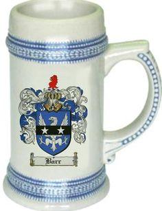 Barr Coat of Arms / Family Crest tankard stein mug