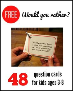 These free would you rather questions for kids are great for long car rides, table topics, and classroom circle time!