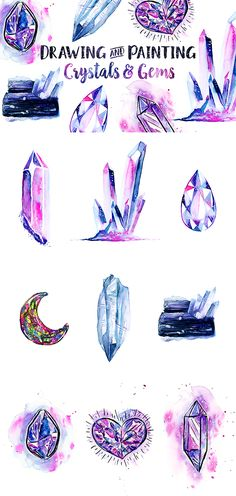 Realistic Drawings Learn how to paint gorgeous crystals and gems in ink, watercolor, Gem Drawing, Crown Drawing, Watercolour Tutorials, Watercolor Crystal Tutorial, Crown Painting, Gothic Drawings, Crystal Drawing, Gem Tattoo, Crystal Tattoo