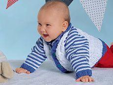 Кофточка для новорожденных с рукавами в полоску - схема вязания спицами. Вяжем Кофты на Verena.ru