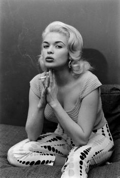 strongNot published in LIFE./strong Jayne Mansfield smokes at home in Hollywood, 1956.