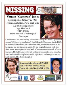"Vernon ""Cameron"" Jones,                          Missing Jan 2, 1993.                                  From Manhattan, New York"