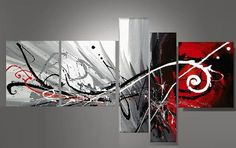 Tableaux design abstrait triptyque EJRAC peints main.