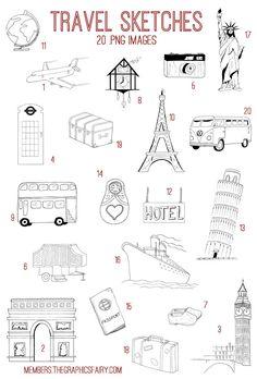 71a90b3f48a9 Hand Drawn Travel Bundle! TGF Premium