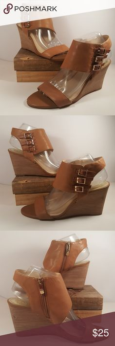 Vince Camuto Tan Wedges Sandals Open Toe Back Sz 9 Up for your consideration is this beautiful pair of Vince Camuto shoes in tan color, size 9M They are wedges style. With open toes and back and a strap in the back.  They are in great condition, the only issue they have is a small peeling at the front of each shoe and on the side of the left shoe in the heel part. Please check the pictures for reference.  Smoke free home  Feel free to ask any questions.  Please check my other listings, I…
