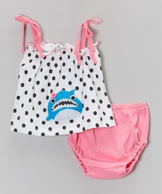 Look at this White Dot Shark Top & Pink Bloomers - Infant on #zulily today!