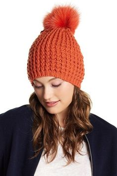 e84b27e2202b8 New Kyi Kyi Genuine Fox Fur Pompom Wool Blend Beanie Orange Hat Cap   fashion