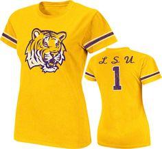LSU Tigers Gold Women's Galaxy Jersey T-Shirt