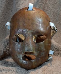 Jacques Plante mask (first NHL goalie to wear a mask) NOT a texas chainsaw massacre movie prop. Ice Hockey Rink, Hockey Goalie, Goalie Mask, Canada Eh, Jason Voorhees, Toronto Maple Leafs, Movie Props, Montreal Canadiens, Nhl