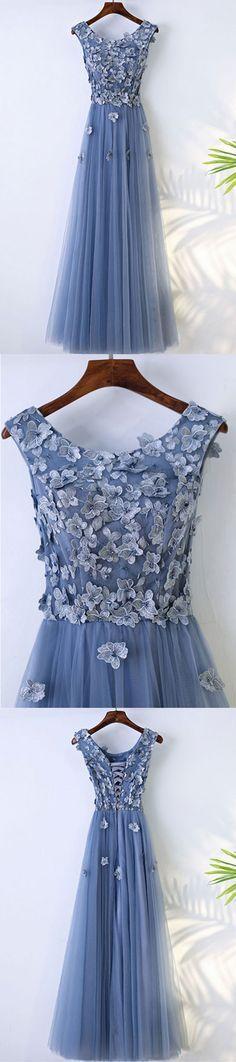 U0122,Blue round neck tulle lace applique long prom dress, evening dress